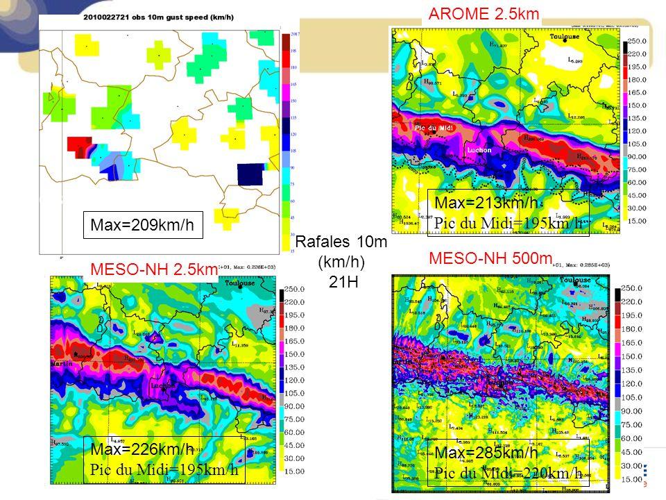AROME 2.5km OBS. Max=213km/h. Pic du Midi=195km/h. Max=209km/h. Rafales 10m (km/h) 21H. MESO-NH 500m.