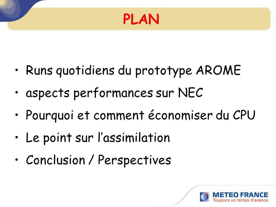 PLAN Runs quotidiens du prototype AROME aspects performances sur NEC