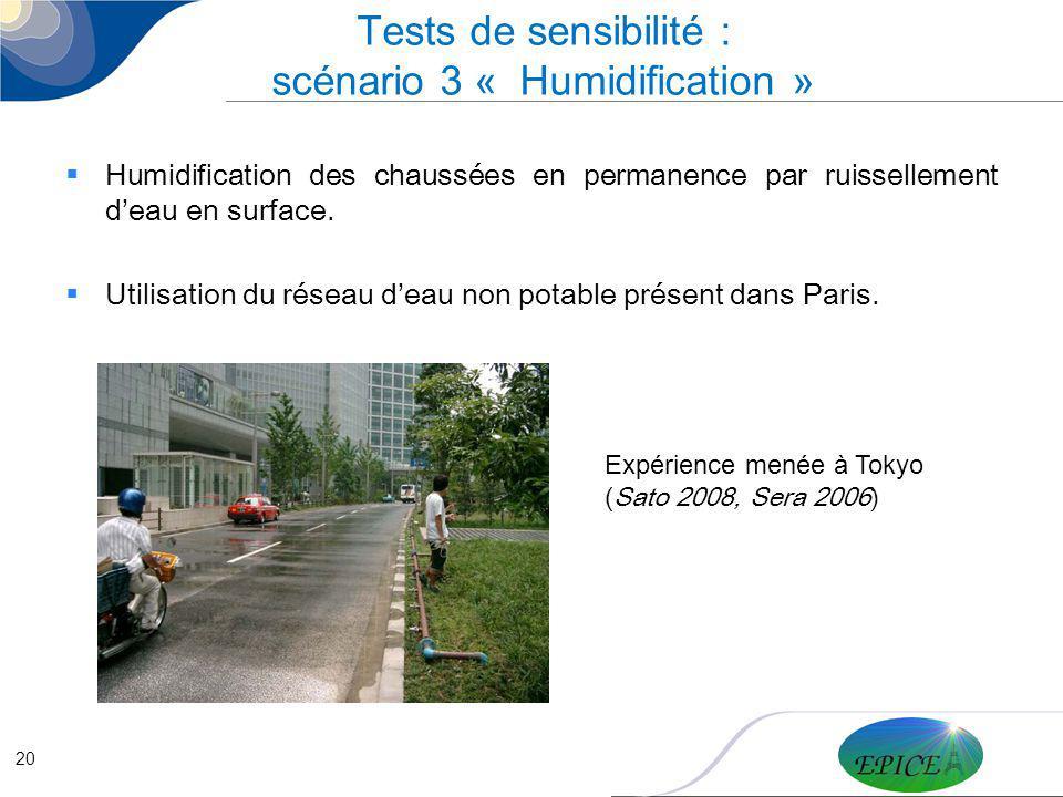 Tests de sensibilité : scénario 3 « Humidification »