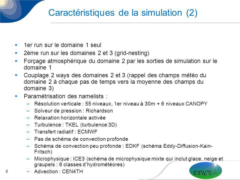 Caractéristiques de la simulation (2)