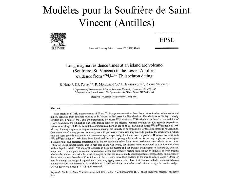 Modèles pour la Soufrière de Saint Vincent (Antilles)