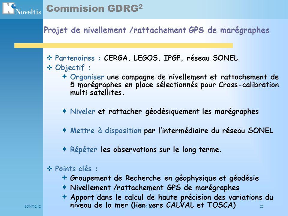 Commision GDRG2 Projet de nivellement /rattachement GPS de marégraphes