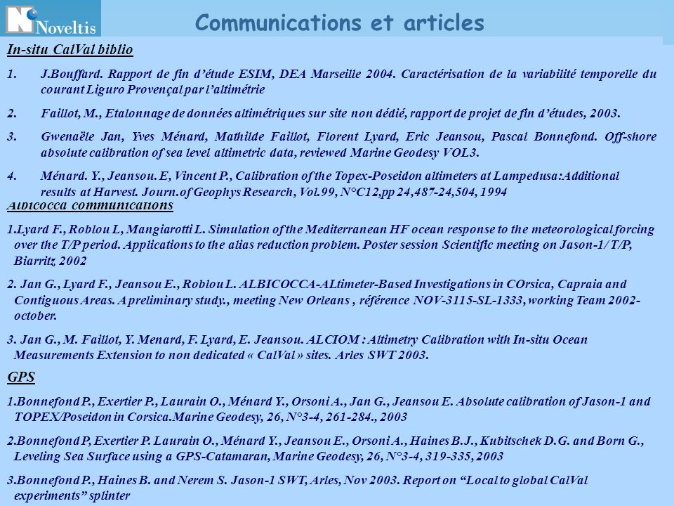 Communications et articles