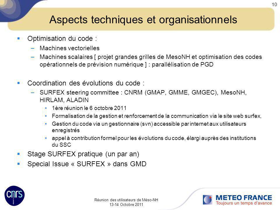 Aspects techniques et organisationnels