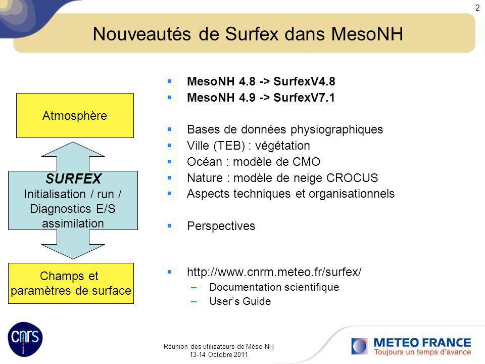 Nouveautés de Surfex dans MesoNH