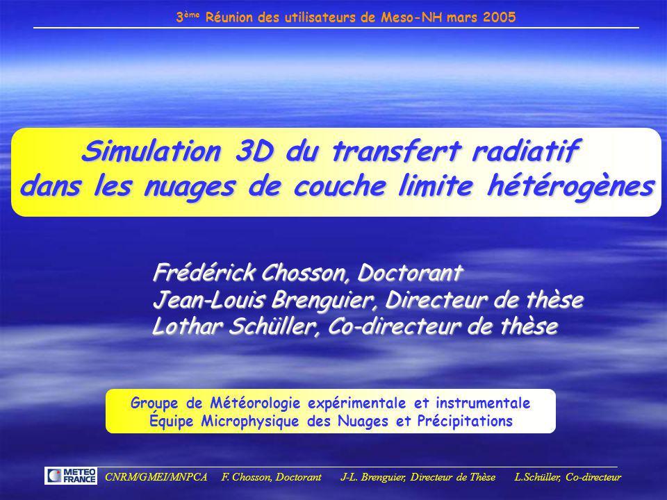 Simulation 3D du transfert radiatif