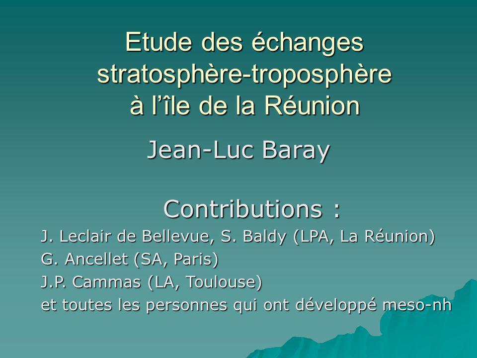 Etude des échanges stratosphère-troposphère à l'île de la Réunion