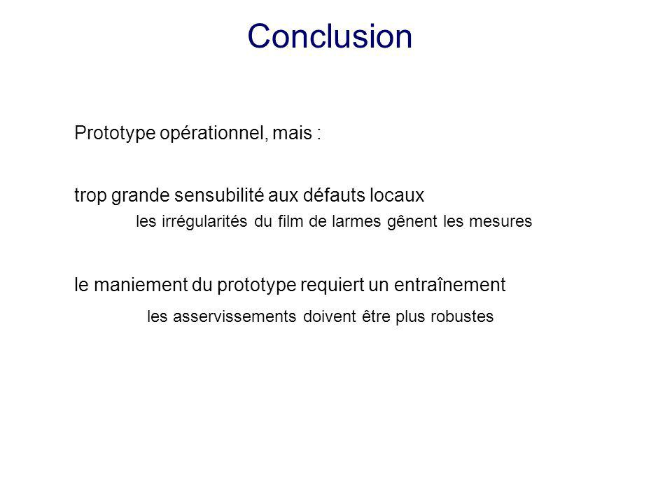 Conclusion Prototype opérationnel, mais :