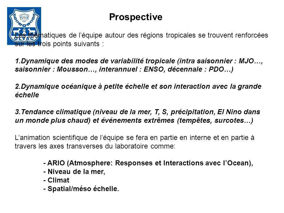 Prospective Les thématiques de l'équipe autour des régions tropicales se trouvent renforcées sur les trois points suivants :