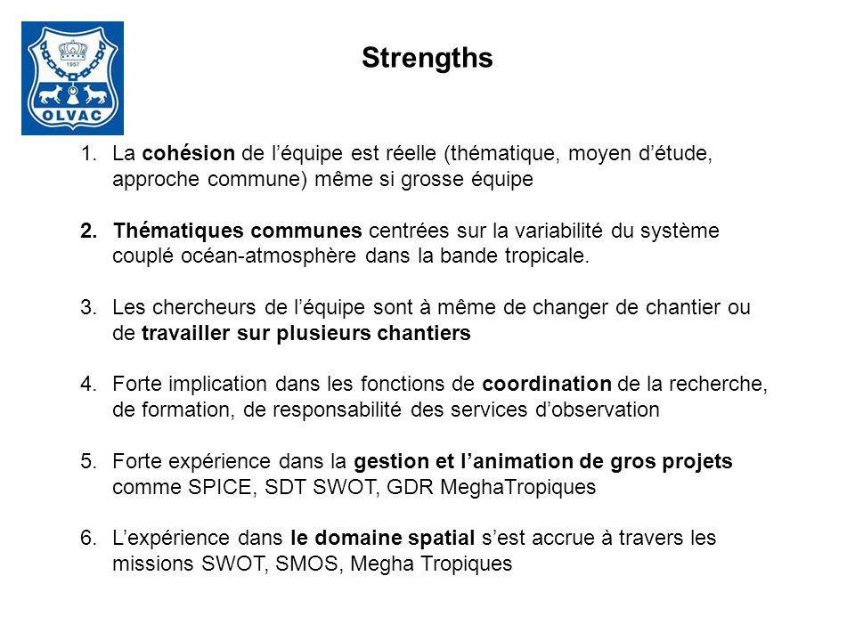 Strengths La cohésion de l'équipe est réelle (thématique, moyen d'étude, approche commune) même si grosse équipe.