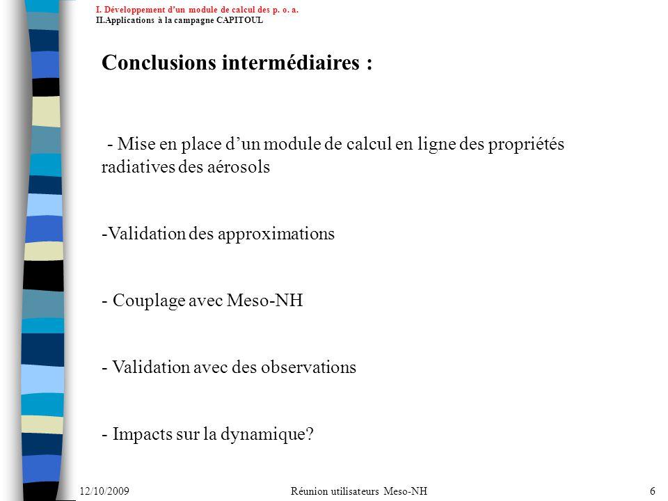 Conclusions intermédiaires :