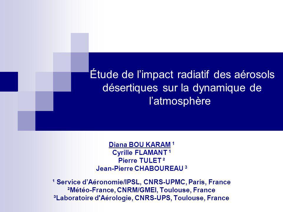 Étude de l'impact radiatif des aérosols désertiques sur la dynamique de l'atmosphère