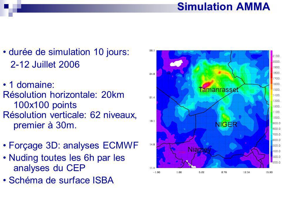 Simulation AMMA • durée de simulation 10 jours: 2-12 Juillet 2006