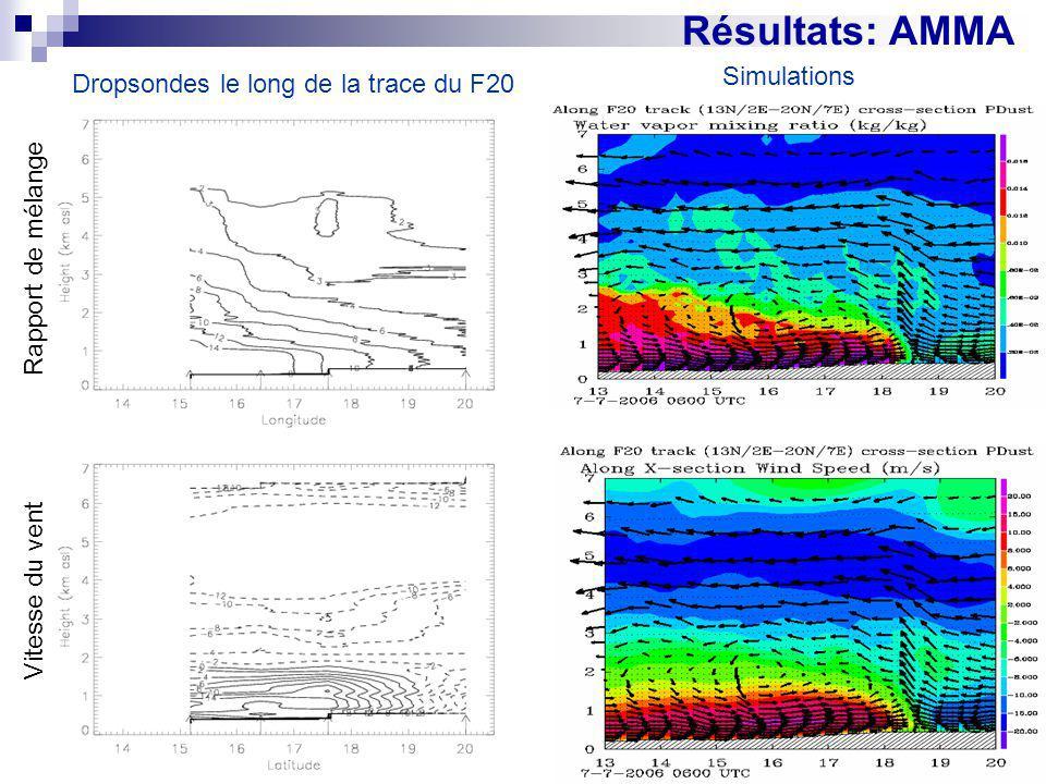 Résultats: AMMA Simulations Dropsondes le long de la trace du F20