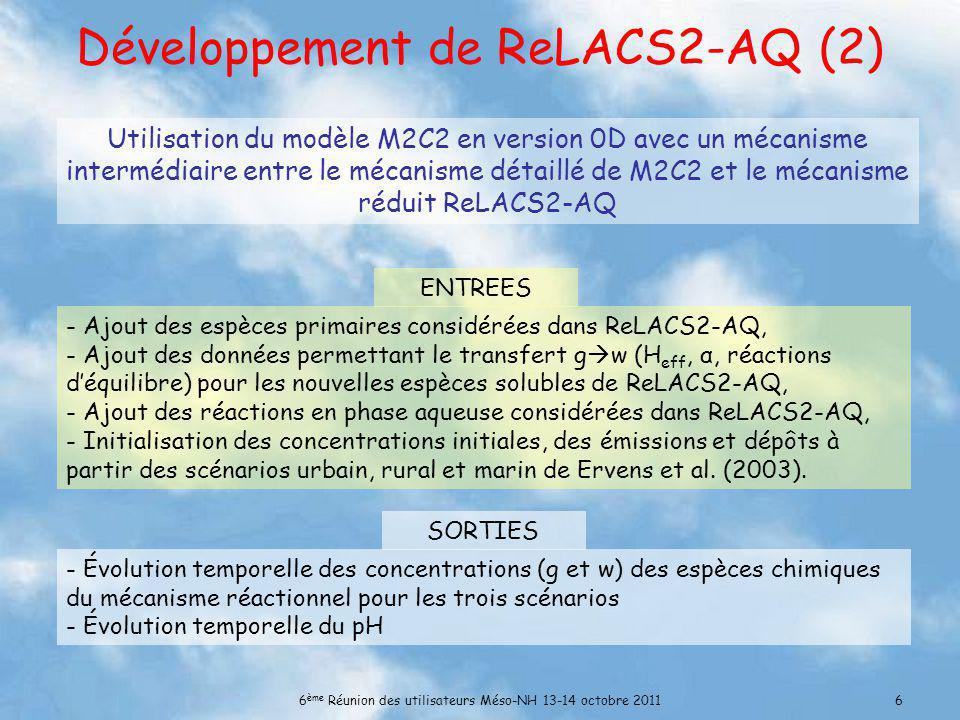 Développement de ReLACS2-AQ (2)