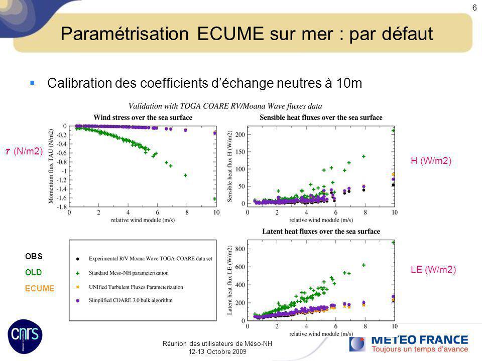 Paramétrisation ECUME sur mer : par défaut