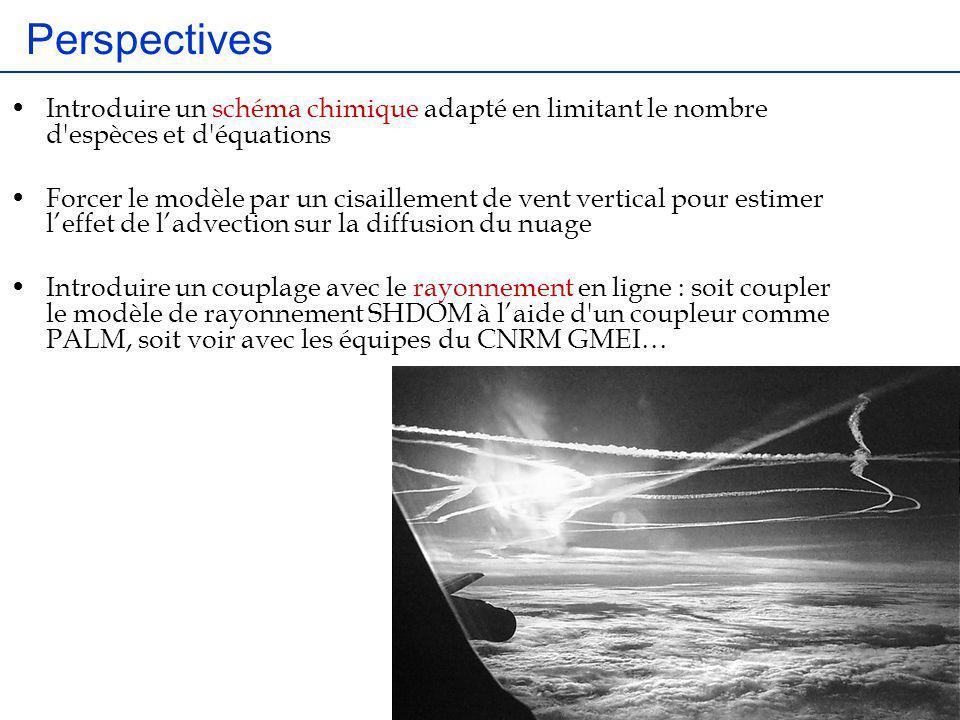 Perspectives Introduire un schéma chimique adapté en limitant le nombre d espèces et d équations.