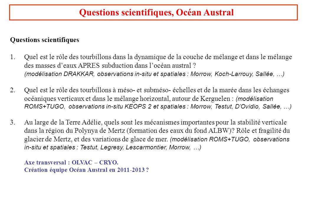 Questions scientifiques, Océan Austral