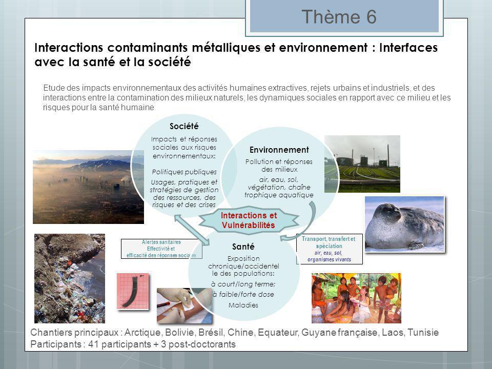 Thème 6 Interactions contaminants métalliques et environnement : Interfaces avec la santé et la société.