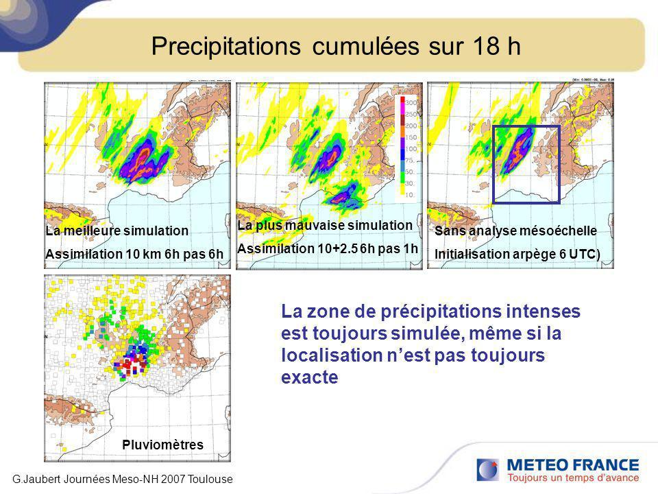 Precipitations cumulées sur 18 h