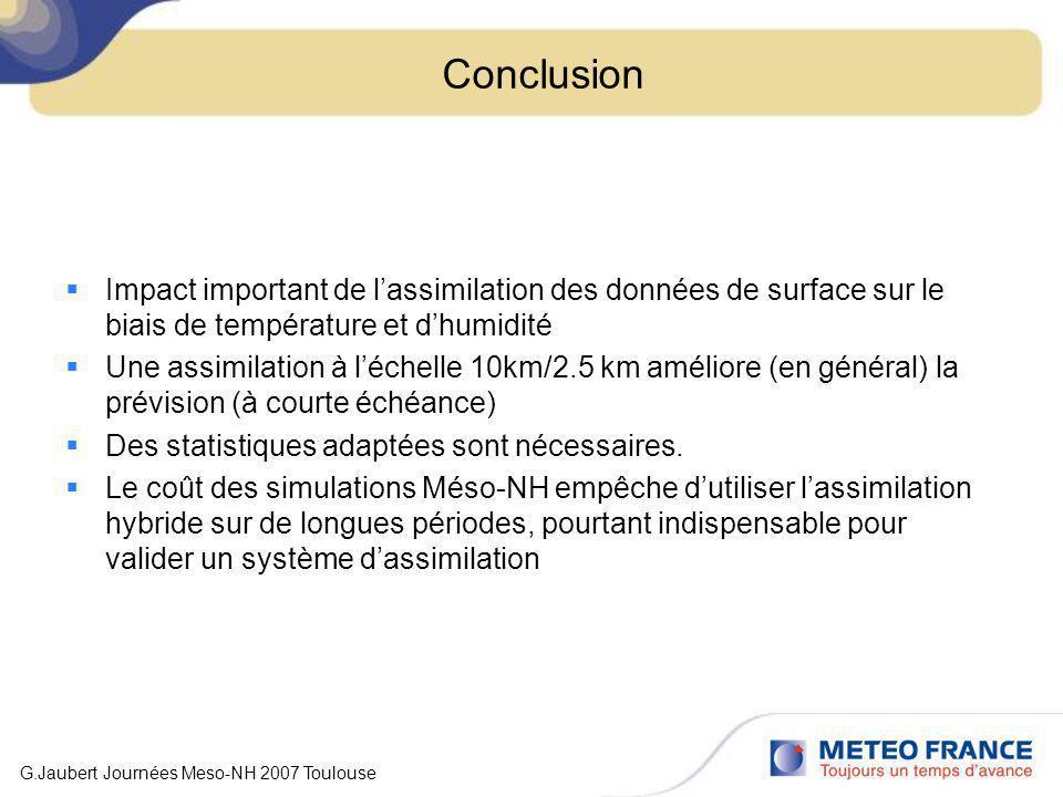 Conclusion Impact important de l'assimilation des données de surface sur le biais de température et d'humidité.