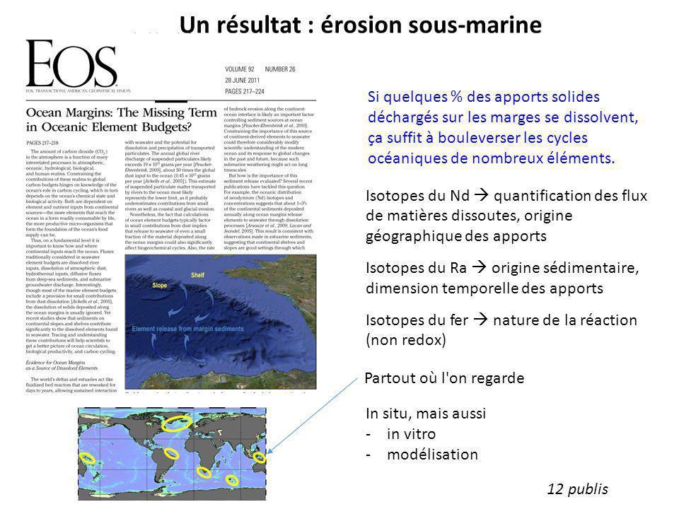 Un résultat : érosion sous-marine