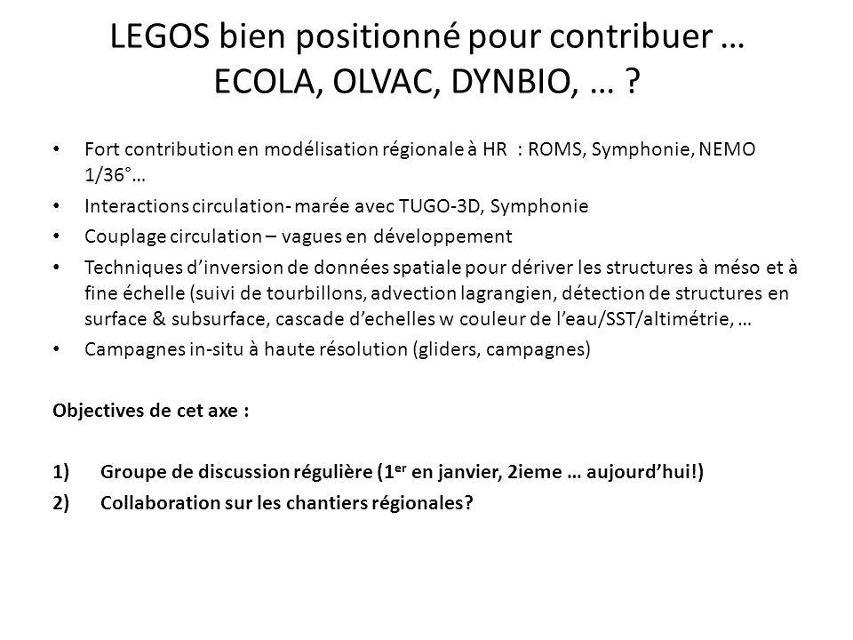 LEGOS bien positionné pour contribuer … ECOLA, OLVAC, DYNBIO, …