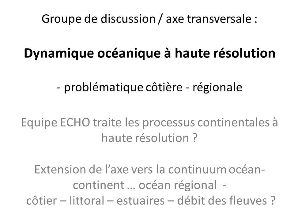 Groupe de discussion / axe transversale : Dynamique océanique à haute résolution - problématique côtière - régionale Equipe ECHO traite les processus continentales à haute résolution .