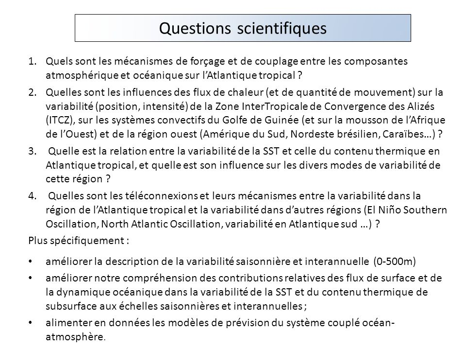 Questions scientifiques