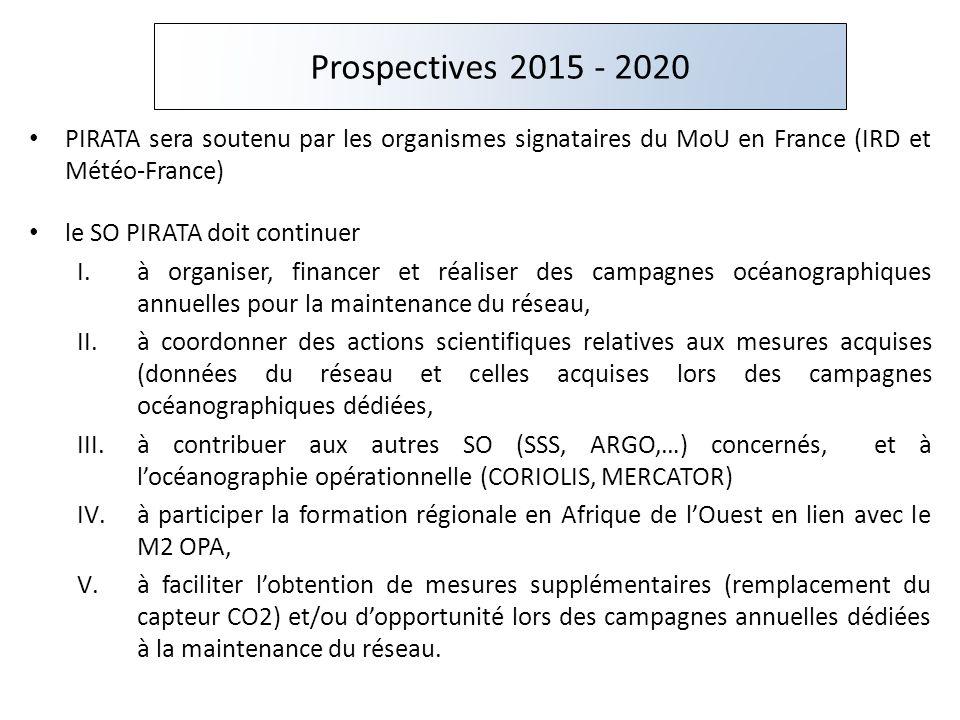 Prospectives 2015 - 2020 PIRATA sera soutenu par les organismes signataires du MoU en France (IRD et Météo-France)