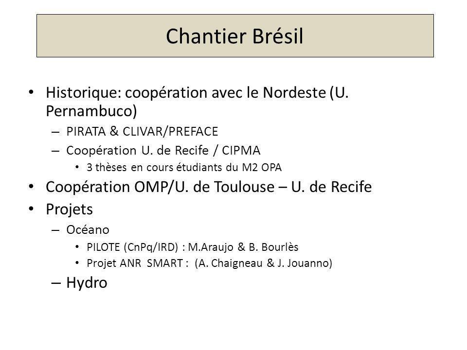 Chantier Brésil Historique: coopération avec le Nordeste (U. Pernambuco) PIRATA & CLIVAR/PREFACE.