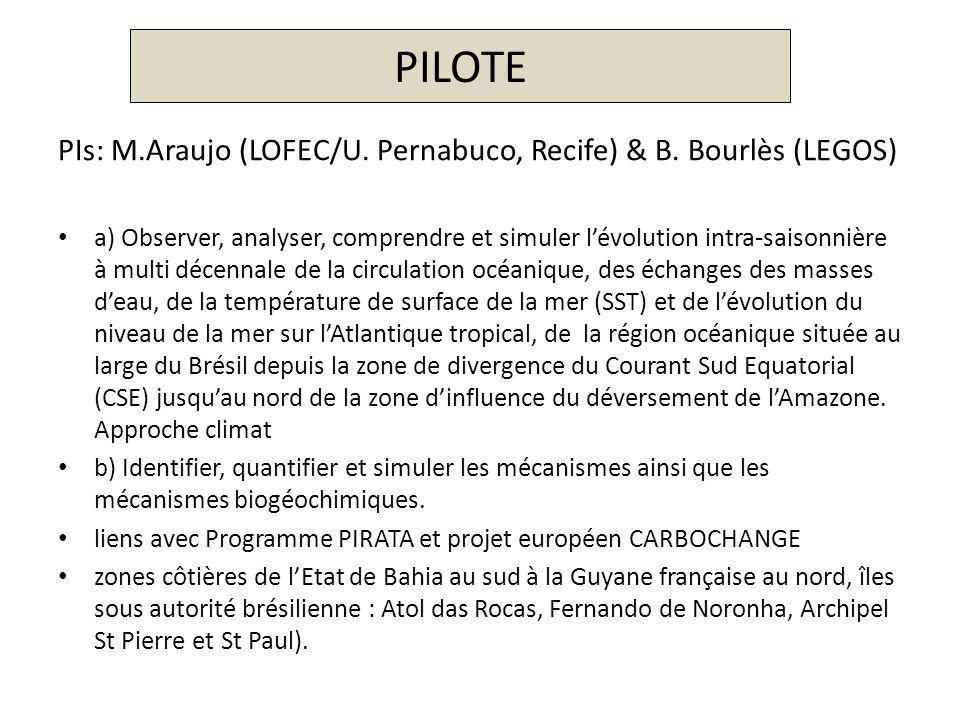 PILOTE PIs: M.Araujo (LOFEC/U. Pernabuco, Recife) & B. Bourlès (LEGOS)