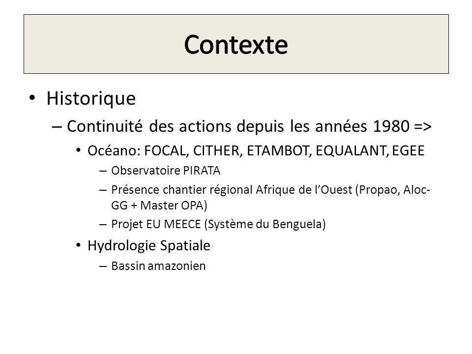 Contexte Historique. Continuité des actions depuis les années 1980 => Océano: FOCAL, CITHER, ETAMBOT, EQUALANT, EGEE.