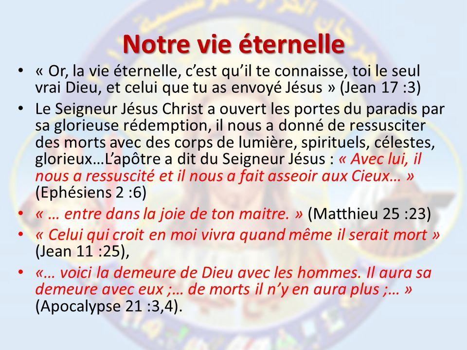 Notre vie éternelle « Or, la vie éternelle, c'est qu'il te connaisse, toi le seul vrai Dieu, et celui que tu as envoyé Jésus » (Jean 17 :3)