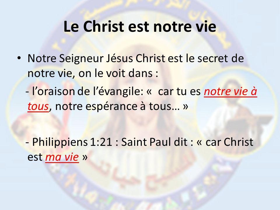 Le Christ est notre vie Notre Seigneur Jésus Christ est le secret de notre vie, on le voit dans :