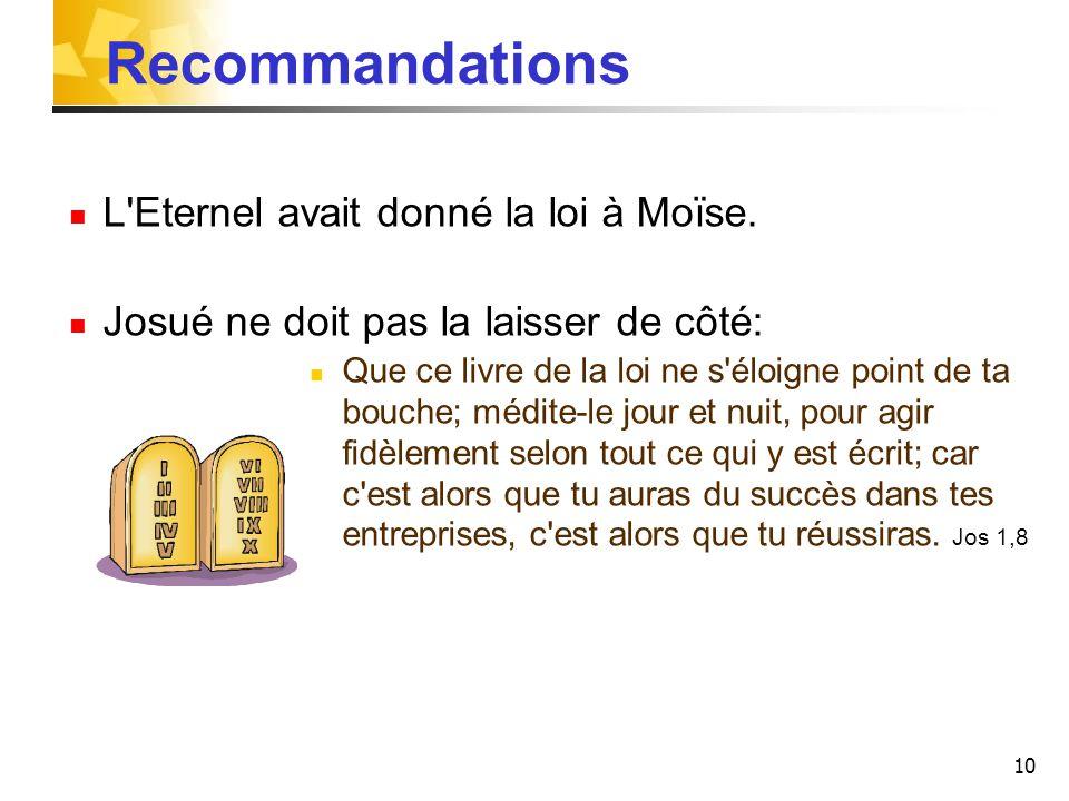 Recommandations L Eternel avait donné la loi à Moïse.