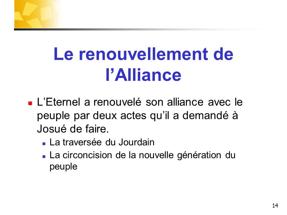 Le renouvellement de l'Alliance