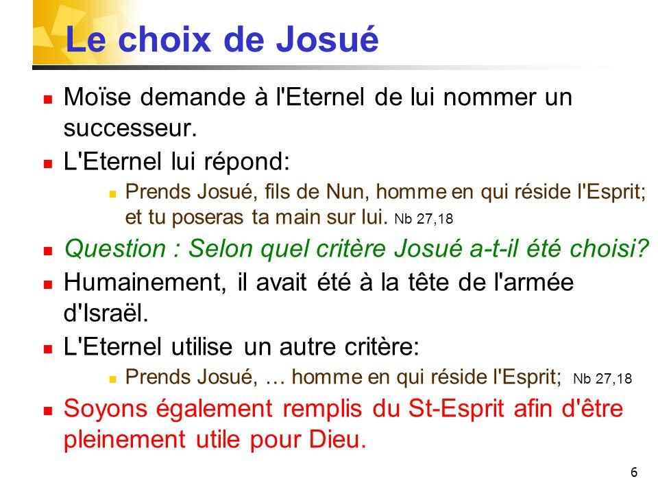 Le choix de Josué Moïse demande à l Eternel de lui nommer un successeur. L Eternel lui répond: