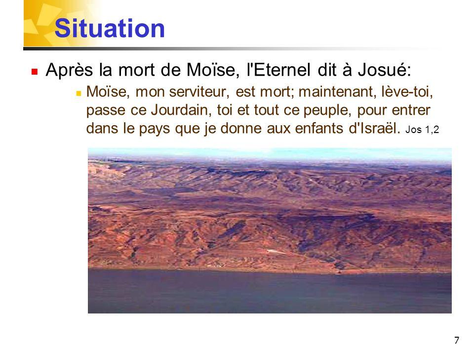 Situation Après la mort de Moïse, l Eternel dit à Josué: