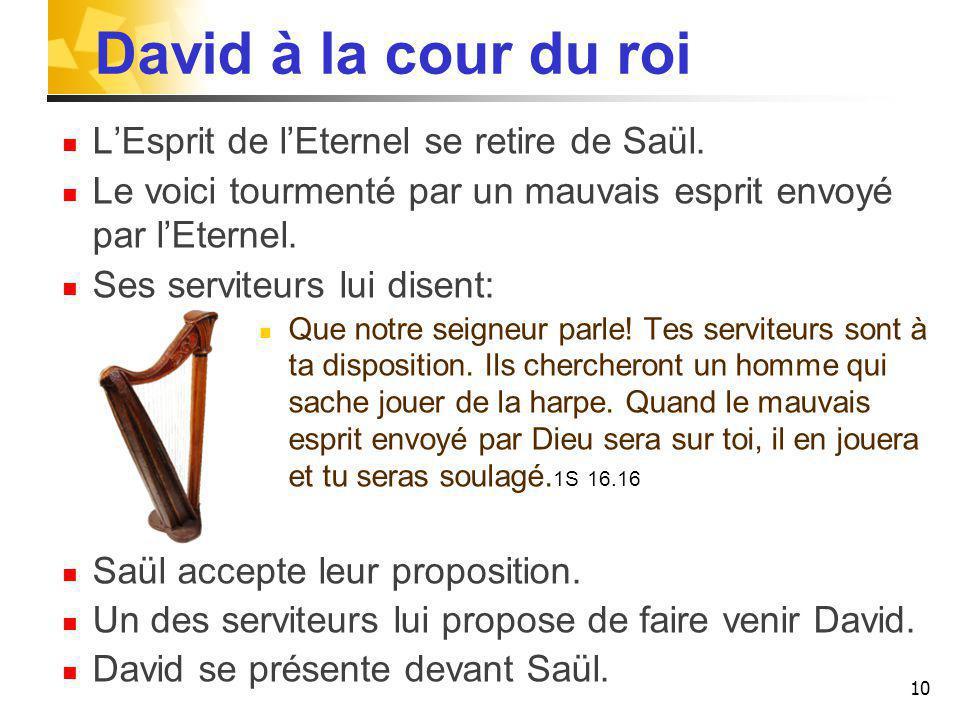 David à la cour du roi L'Esprit de l'Eternel se retire de Saül.