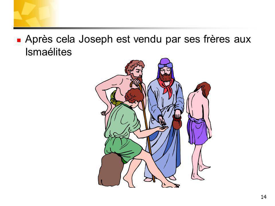 Après cela Joseph est vendu par ses frères aux Ismaélites