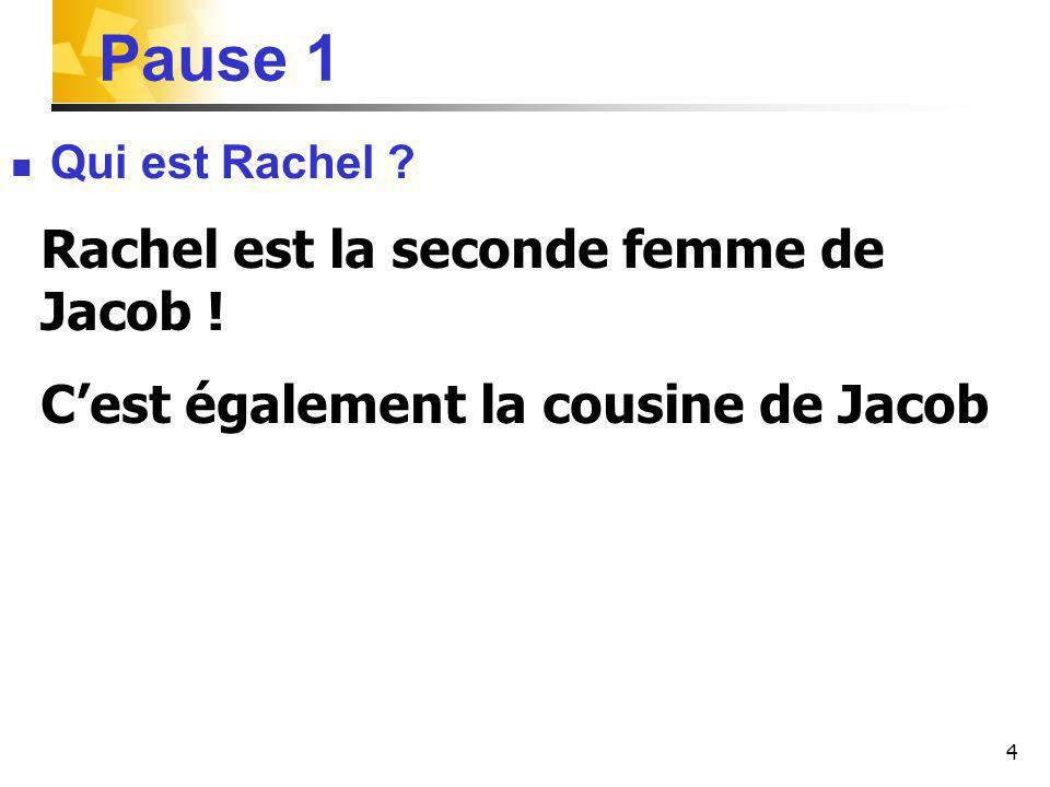Pause 1 Rachel est la seconde femme de Jacob !