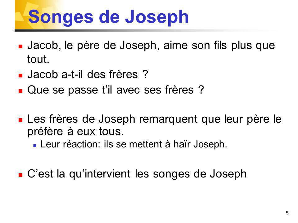 Songes de Joseph Jacob, le père de Joseph, aime son fils plus que tout. Jacob a-t-il des frères Que se passe t'il avec ses frères