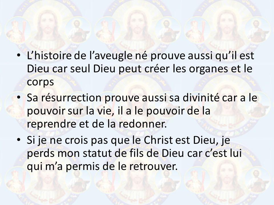 L'histoire de l'aveugle né prouve aussi qu'il est Dieu car seul Dieu peut créer les organes et le corps