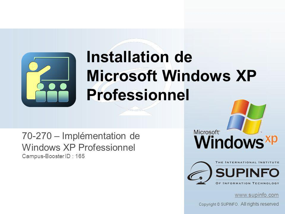 Installation de Microsoft Windows XP Professionnel