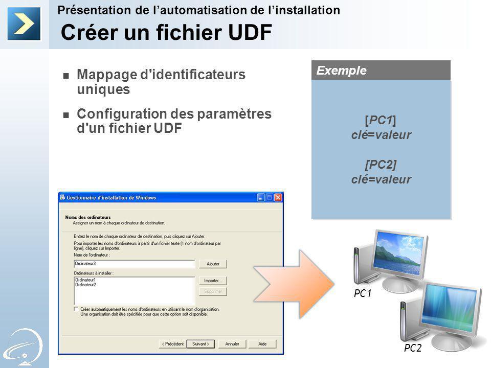 Créer un fichier UDF Mappage d identificateurs uniques