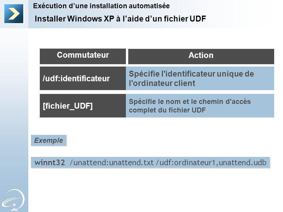 winnt32 /unattend:unattend.txt /udf:ordinateur1,unattend.udb