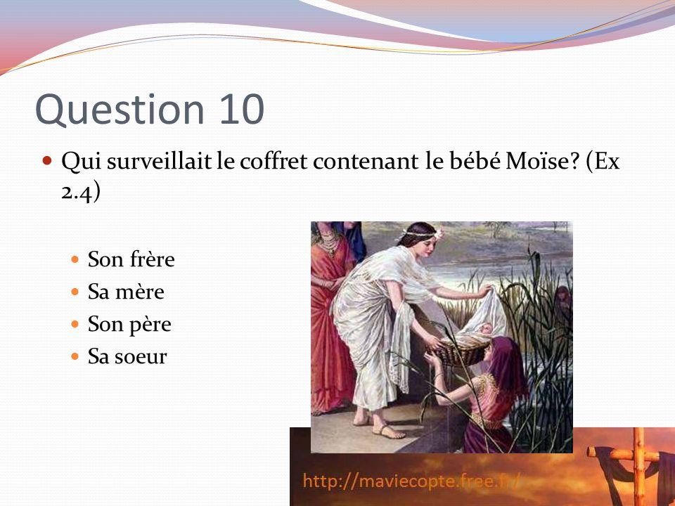 Question 10 Qui surveillait le coffret contenant le bébé Moïse (Ex 2.4) Son frère. Sa mère. Son père.