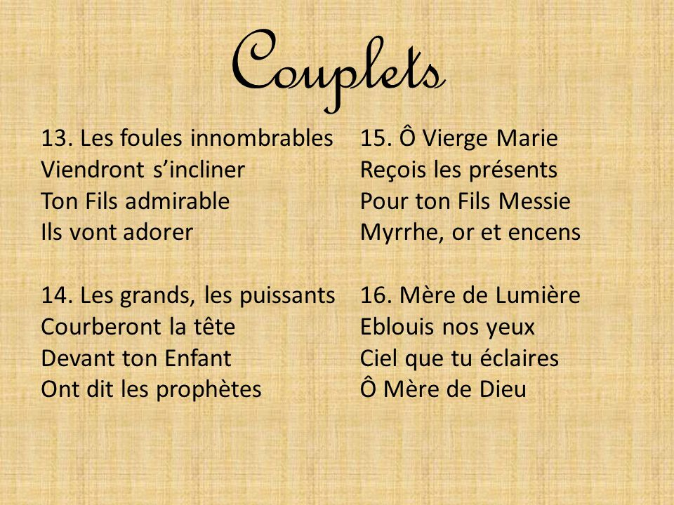 Couplets 13. Les foules innombrables Viendront s'incliner