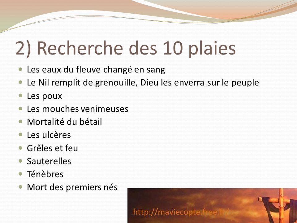 2) Recherche des 10 plaies Les eaux du fleuve changé en sang